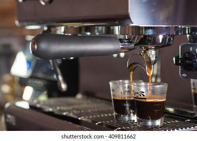 solf focus image for fresh coffee maker machine