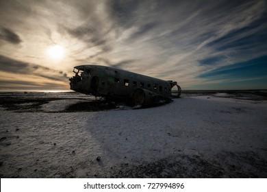 Solheimasandur the plane wreck view during winter snow