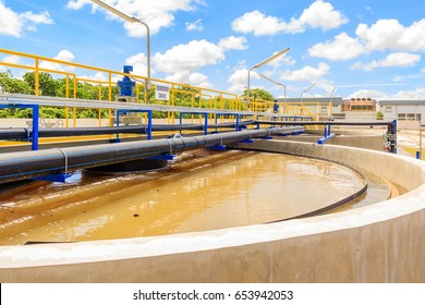 The Solid Contact Clarifier Tank type Sludge Recirculation process in Water Treatment plant, Modern urban wastewater treatment plant.