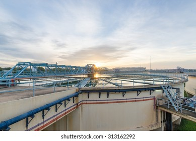 The Solid Contact Clarifier Tank in Water Treatment Plant at morning