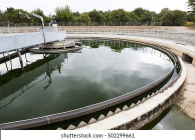 The Solid Contact Clarifier Tank in Water Treatment plant. Modern urban wastewater treatment plant.