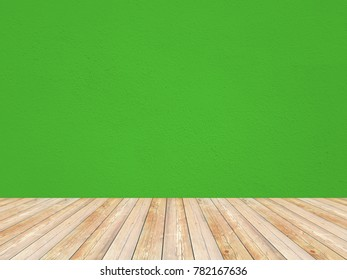 Solid green color empty room