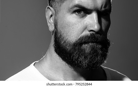 b8fc74ea5718 Solid man with beard and mustache. Closeup portrait of athletic bearded man.  Handsome stylish