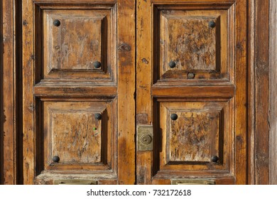 Solid massive wooden front door with vintage look