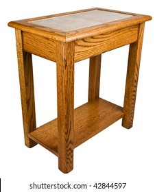 Solid Oak End Table with Ceramic Tile Top