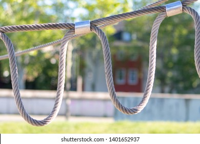 Solid rope slipknots on a playground wait for children to have fun and sport with it