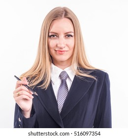 solid Russian blonde in a business suit with lipstick in hand (a la the cigar) and a hat