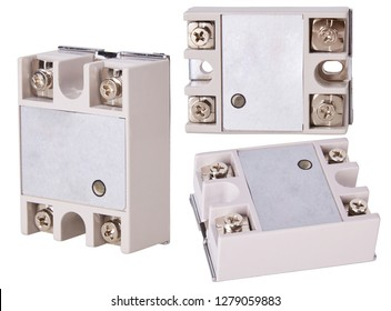 Solid State Relay Module isolated on white background. Single phase. Reduced electromagnetic interference. Input, Output