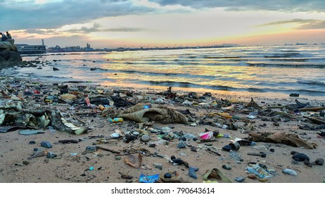 Solid waste along the shore where the litterers lead to spoiled water and dead fish