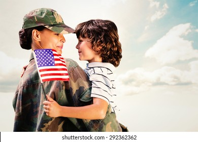 Solider reunited with son against blue sky
