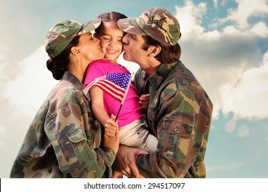 Soliders reunited with children against cloudy sky