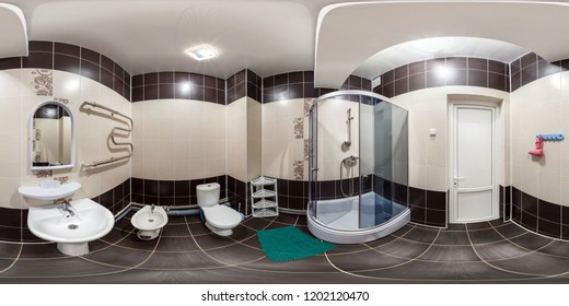 SOLIGORSK, BELARUS -  DECEMBER 2013: Full seamless 360 degree angle panorama Inside of the interior of empty bathroom restroom in minimalistic style in equirectangular spherical equidistant projection