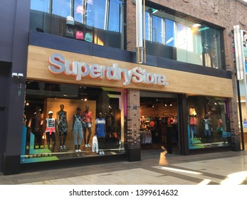 Solihull, England, UK - May 2019: Superdry shop store front, Touchwood shopping mall