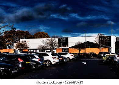 Solihull, West Midlands, England,UK. November 11th. 2018. Retail Park and Mall - Shopping Centre with Modern Architecture on a sunny Autumn day. There are no recognisable people in the picture.