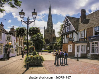 SOLIHULL WEST MIDLANDS  UK â?? SEPTEMBER 26 2016: Town centre of Solihull. Sunny afternoon in late September and there are people walking around the streets and pedestrianised squares of the town.