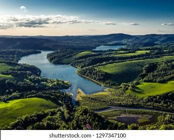 Solina - Bieszczady - drone aerial panorama