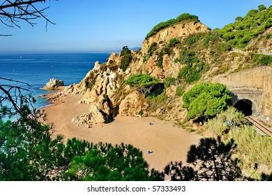 Solitary beach in Catalonia, near Barcelona