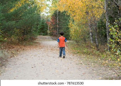 A solitary boy on a walking trail in Canada's north in the Autumn season