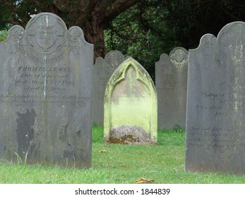 Solitary green tombstone