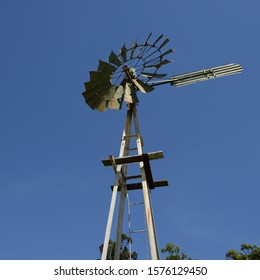 Solitary old rusty  windmill close up