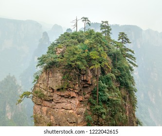 Solitary stone columns among the mountains (Avatar rocks). Zhangjiajie National Forest Park was officially recognized as a UNESCO World Heritage Site - SiChuan, China