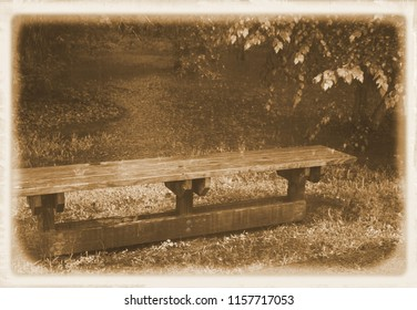 Solitary, weathered park bench in the rain sitting in front of a pond