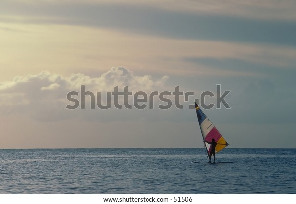 Solitary windsurfer