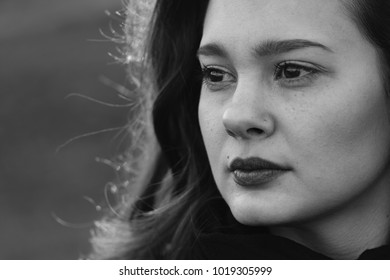 Solitude portrait. Black and white woman portrait.