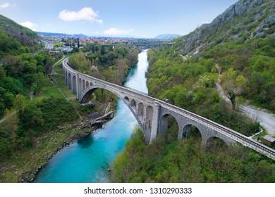 Solkan bridge over Soča river in Slovenia, Europe