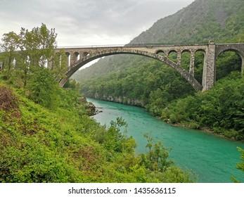 solkan bridge in slovenia river
