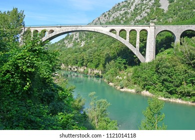 The Solken Bridge over the River Soca in Slovenia near Nova Goriza. The largest stone arch in the world.