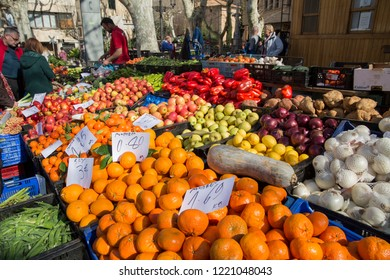 Soller in Majorca island Spain on February 17, 2018. Saturday street market.