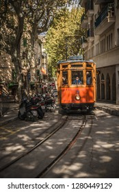Soller, Mallorca, Spain - 04.11.2018: old electric tram that goes between City of Soller and Port de Soller