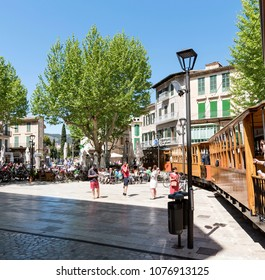 Soller, Mallorca, Spain. April 2018. Vintage tram passing through the town centre of Soller