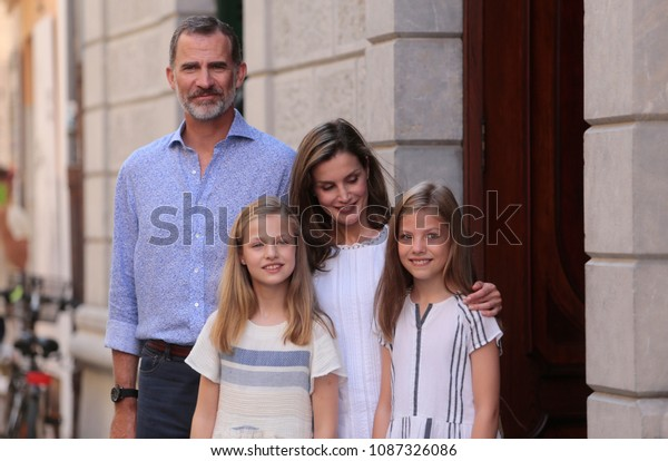 Soller, Mallorca / Spain - August 6, 2017: Spain royals King Felipe and Queen Letizia with princesses Leonor and Sofia walk the village of Soller in the Spanish island of Mallorca