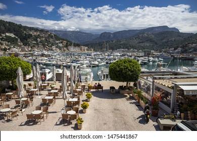 Soller, Spain - 26.05.2019:  view of Porte de Soller, Mallorca, Spain