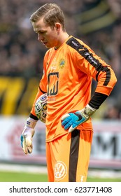 SOLNA, SWEDEN - APRIL 17, 2017: Closeup of goalkeeper Ogdamundur Kristinsson at the derby game between AIK and Hammarby IF at the national stadium Friends Arena in Solna. Hammarby won with 2-1