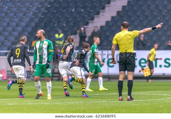 SOLNA, SWEDEN - APRIL 17, 2017: Nils Johansson scores at the derby match between AIK and Hammarby IF at the national stadium Friends Arena in Solna. Hammarby won with 2-1