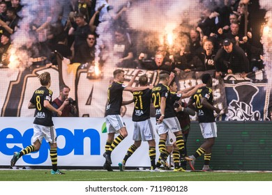 SOLNA, SWEDEN - AUG 27, 2017: AIK fans at the soccer derby between AIK and DIF in Allsvenskan. Final result 1-1