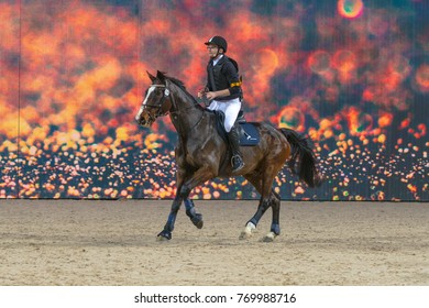 SOLNA, SWEDEN - DEC 3, 2017: Star jumping with Ludwig Svennersal at the Swedish International Horse Show. Friends arena.