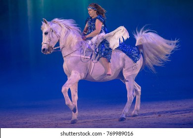 SOLNA, SWEDEN - DEC 3, 2017: Opening show with Pegasus the winged horse at the Sweden International Horse Show. Friends arena.