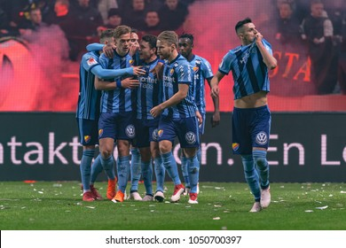 SOLNA, SWEDEN, MARCH, 18, 2018 Djurgarden scored 2-0 at the Derby rival AIK at Friends arena in the Svenska Cupen with Kerim Mrabti as goal scorer. Winner DIF with 2-0