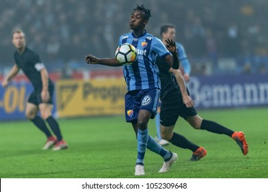 SOLNA, SWEDEN, MARCH, 18, 2018: Tino Kadewere DIF striker in action at the Svenska cupen semi final.