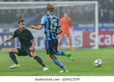 SOLNA, SWEDEN, MARCH, 18, 2018: Djurgarden midfielder Jonathan Augustinsson at the Svenska cupen semi final agains AIK. Final result 2-0 to DIF