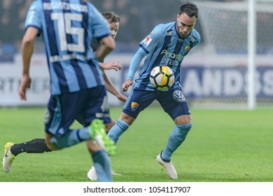 SOLNA, SWEDEN, MARCH, 18, 2018: Djurgarden midfielder Dzenis Kozica in possesion of the ball at the Svenska cupen semi final.