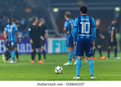 SOLNA, SWEDEN, MARCH, 18, 2018: Kerim Mrabti with a freekick at the Svenska cupen semifinal. Djurgarden won with 2-0 and is in the final against Malmo FF
