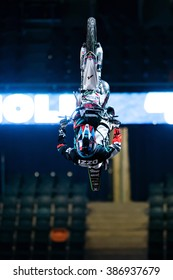 SOLNA, SWEDEN - MARCH 4, 2016: Acrobatic jump from Brice Izzo (FRA) at the Night of the jumps in Stockholm, Friends arena