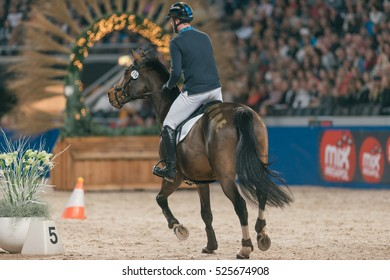 SOLNA, SWEDEN - NOV 24, 2016: Nicklas Lindback at the Ride and drive competition in the Sweden International Horse Show at Friends arena.