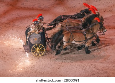 SOLNA, SWEDEN - NOV 26, 2016: Roman empire chariot event in the Sweden International Horse Show at Friends arena.