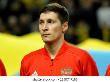 Solna, Sweden - November 20, 2018. Russia national football team midfielder Daler Kuzyaev before UEFA Nations League match Sweden vs Russia in Stockholm.